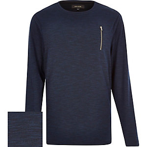 Navy marl zip pocket sweatshirt