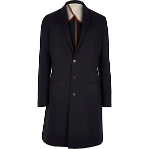 Navy long smart overcoat