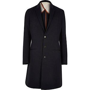 Navy long smart overcoat