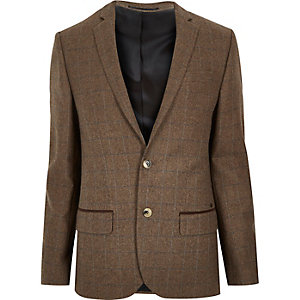 Brown check wool-blend skinny blazer