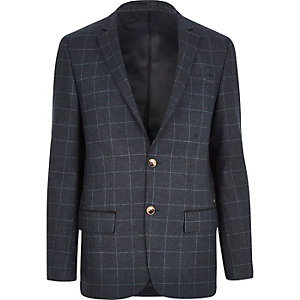 Navy check skinny fit blazer
