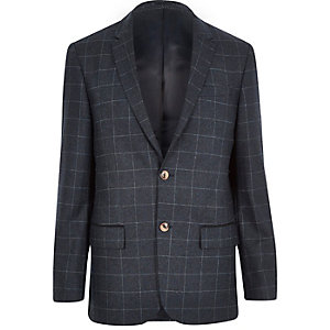 Navy check wool-blend tailored blazer