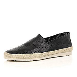 Black leather perforated slip on plimsolls