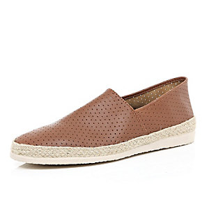 Brown leather perforated slip on plimsolls
