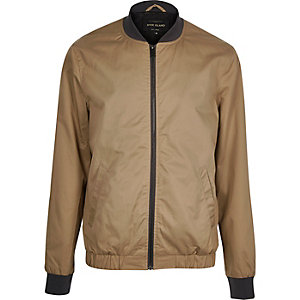 Brown casual contrast neck bomber jacket