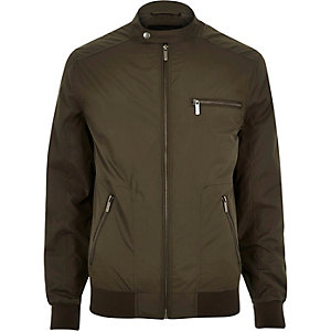 Khaki green popper collar zip bomber jacket
