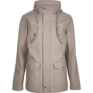 Ecru hooded casual jacket
