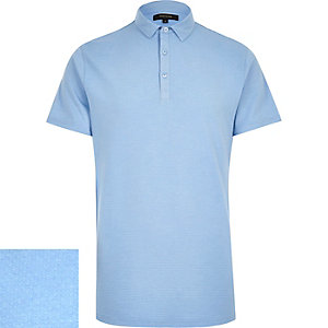 Blue dotty texture polo shirt