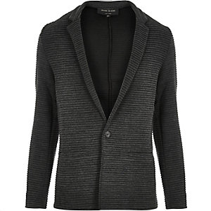 Grey textured ribbed blazer
