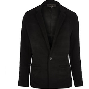 Black textured ribbed blazer