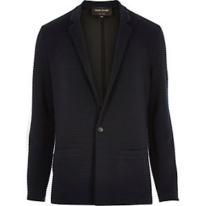 Navy textured ribbed blazer