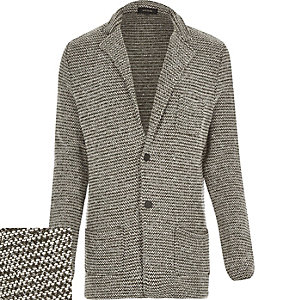 Dark green knitted blazer