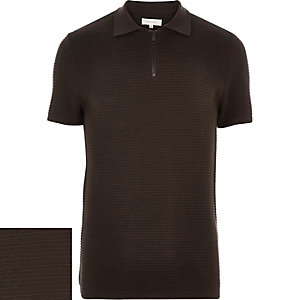 Dark brown zip neck ribbed polo shirt