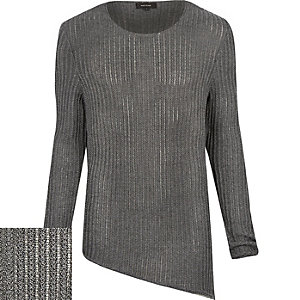 Grey asymmetric tunic jumper