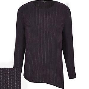 Purple asymmetric tunic sweater
