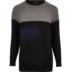 Navy woven colour block jumper
