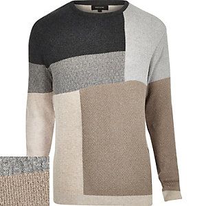 Ecru woven colour block jumper