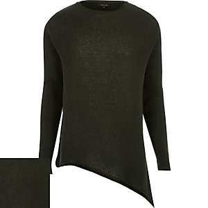 Dark green asymmetric hem jumper