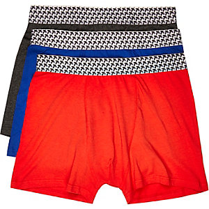 Red geo boxer shorts pack
