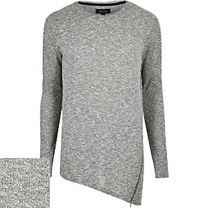 Grey marl asymmetric zip hem jumper