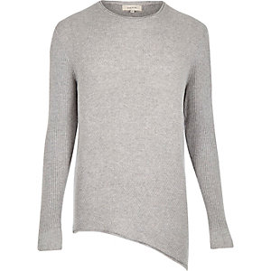 Light grey asymmetric hem jumper