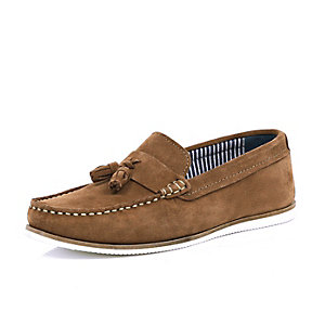 Brown suede tassel boat shoes