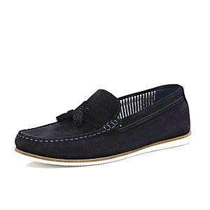 Navy blue tassel front boat shoes
