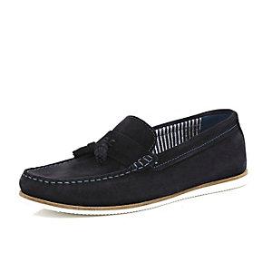 Navy blue tassel front boat shoes