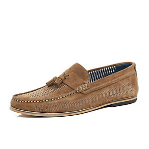 Brown suede tassel front boat shoes