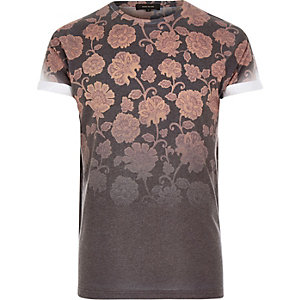 Black faded wallpaper flower print t-shirt