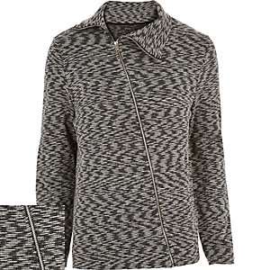 Grey marl asymmetric zip front jacket