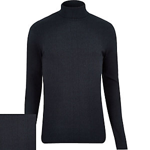 Navy ribbed roll neck jumper