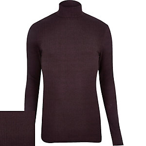 Dark red ribbed roll neck jumper