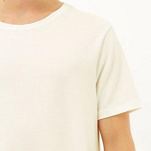 Ecru textured front waffle t-shirt