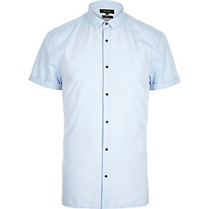 Light blue slim popper front shirt