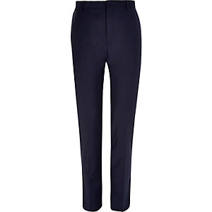 Navy wool-blend skinny suit pants