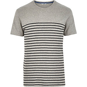 Grey Only & Sons Breton stripe t-shirt