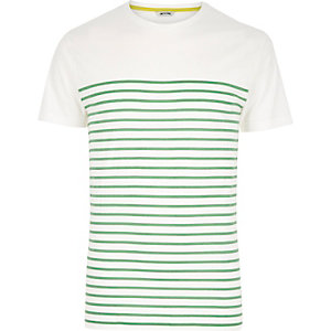 White Only & Sons green Breton stripe t-shirt