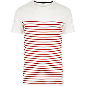 White Only & Sons red Breton stripe t-shirt
