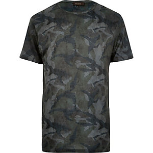 Dark green camo print t-shirt