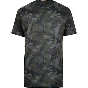 Dark green camo print t-shirt