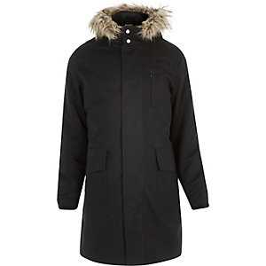 Navy faux-fur trim parka coat