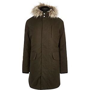 Green faux-fur trim parka coat