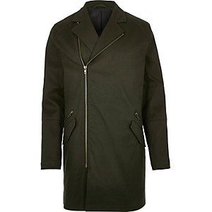 Dark green military mac coat