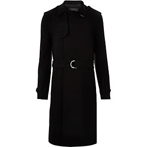 Black smart D-ring mac coat