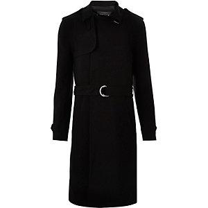 Black smart D-ring mac coat