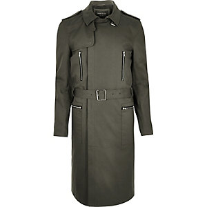 Green smart belted mac coat