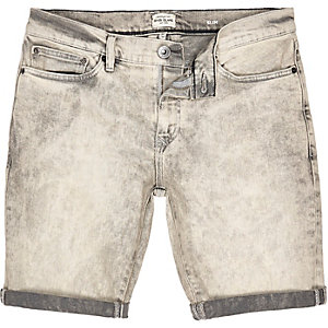 Grey acid wash denim slim shorts