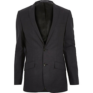 Navy linen-blend skinny suit jacket