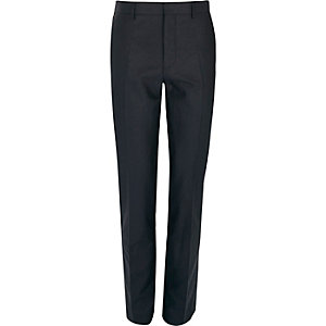 Navy linen-blend skinny suit trousers